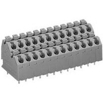 Terminal block for printed circuit boards, 2 stage type with push button, 250 series