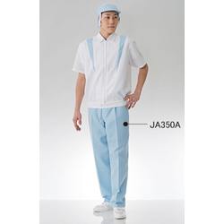 Clean Short Sleeved Upper Garment, White × Blue, JB258A-12
