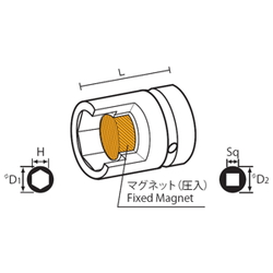 9.52 mm Square Drive Sockets Socket with Magnet, MP Short Type Standard Sockets(Singel Hex)
