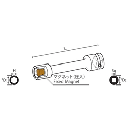 12.7 mm Square Drive Sockets Socket with Magnet, MP Extension Type Extension Sockets(Singel Hex)