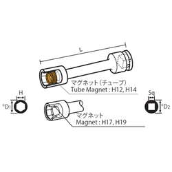 12.7 mm Square Drive Sockets Socket with Magnet, MT Extension Type Extension Sockets(Singel Hex)