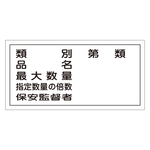 "Hazardous Material Sign ""Type, Product Name, Maximum Quantity, Multiple of Specified Quantity, Security Supervisor"" KHY-16R"