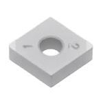 SUMIBORON Insert, 80° Diamond-Shape With Hole, Negative, 2NC-CNGA