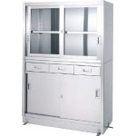 Stainless Steel Storage Cabinet Drawer-Attached Upper Glass Door Lower Part Stainless Steel Door Base Specifications