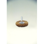 Steel Plated Wire Shaft Mounted Wheel Brush (Yellow Strand)