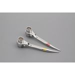 Full-Polished with Curved Bolt-Hole Aligner / Double-Ended Ratchet Wrench, Mini Short Type