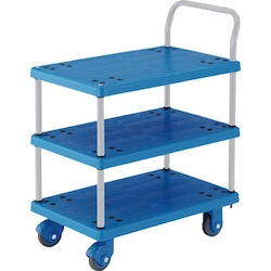 Plastic Trolley, Grand Cart, Silent, One-Side Handle 3-Level Type