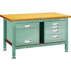 Heavy Work Bench with 4-Shelf Cabinet / Locker Steel Panel Tabletop Average Load (kg) 3000
