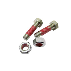 "Hex Bolts LOCTITE ""Precoat"" 204 (Bright Chromate) with 10 mm Coating Applied at 1-2 Gaps From The Tip"