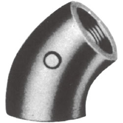 Screw-In Malleable Cast Iron Pipe Fitting, 45° Elbow