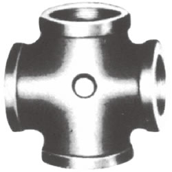 Screw-In Malleable Cast Iron Pipe Fitting, Cross with Collar