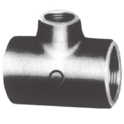 Screw-In Malleable Cast Iron Pipe Fitting, Reducing Tee (Small Branch Diameter)