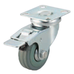 Casters -Light Load- Wheel Material: Rubber - Swivel Type + Stopper