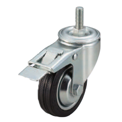 Screw-In Casters - Medium Load - Wheel Material: Rubber - Swivel Type + Stopper
