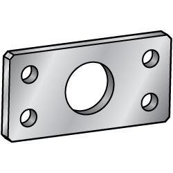 Flat Bar Mounting Plate, Bracket - Center Symmetrical Type