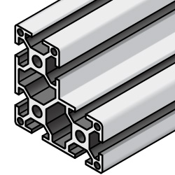 Aluminum Extrusion 8 Series/slot width 10/80x80x40mm, Parallel Surfacing