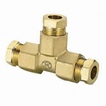 Copper Pipe Fitting, ⌀8 / ⌀10 T Fitting (Resin Sleeve)