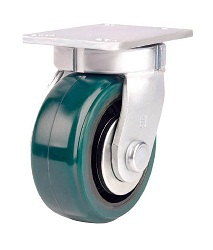 Heat resistant caster for high load weight use (urethane wheels), independent.