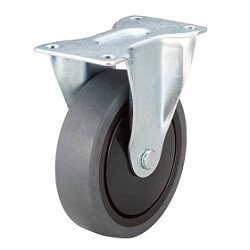 Reduced Noise Caster, Elastomer Wheels, Fixed