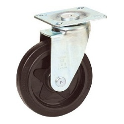 Press-Formed Sound-Dampening Caster, Rubber Wheels, Freely Rotating
