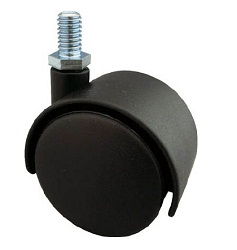 Screw-in Dual Wheel Casters, Nylon Wheels, Freely Moving