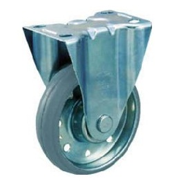 High-Tension Press Gray Rubber Casters with Fixing Bracket